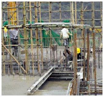 铝膜板施工流程:浇筑混凝土